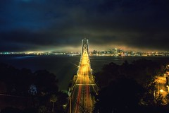 A Night on a Bridge (Thomas Hawk) Tags: baybridge california sanfrancisco treasureisland usa unitedstates unitedstatesofamerica yerbabuenaisland bridge fav10 fav25 fav50 fav100