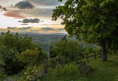 Tramonto... (Rospex) Tags: italy panorama verde colors foglie montagne tramonto nuvole natura cielo colori marche paesaggio scorcio monti sibillini
