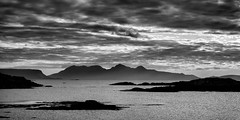 HDR Landscapes on Google+ (tommyscapes) Tags: ocean uk sea bw white black silhouette clouds photoshop island scotland landscapes google media rocks post g social processing network hdr westhighlands isleofrum photomatix 3exp canon2470mmf28l nikcolorefexpro canoneos7d