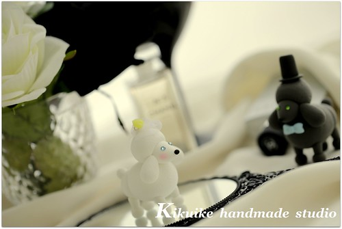 Wedding Cake Topper -Handmade lovely Kiss Poodle