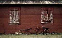 Bike Frame (hutchphotography2020) Tags: bicycle rural frames nikon rust farm explore weathered peelingpaint corrosion woodgrain