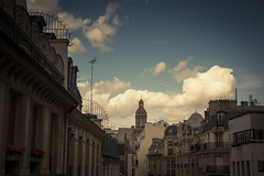 Roofs in the clouds (Gilderic Photography) Tags: street city roof sky urban cinema paris france church architecture clouds canon eos europe raw galeries lafayette perspective ciel nuages cinematic rue toit ville lightroom 500d gilderic