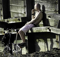contemplating the groyne (pete ware) Tags: wood man beach bike bicycle warm bald nuts sunny bolts plates shorts groyne whitstable breakwater nikond90 photoshopcs5 peteware nikon55300dxvr
