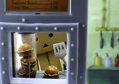 Landing a job at The Krusty Krab (Duck) Tags: fastfood cook hamburgers danbo krustykrab revoltech danboard revoltechdanbo