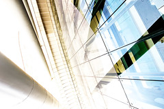height (koala-x) Tags: city blue urban brown abstract reflection building green glass colors yellow wall architecture modern photoshop canon reflections concrete israel office industrial angle steel wide middleeast overexposed walls  height 60d canon60d