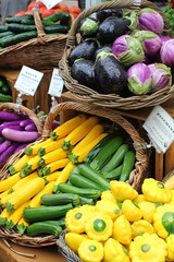 Farmer's Market in the Rain (rarefruitfan) Tags: wet rain boston farmers market eggplant squash raining
