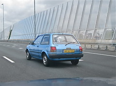 1985 TOYOTA Starlet 1.3 DX Automatic, while driving (ClassicsOnTheStreet) Tags: 80s automatic toyota 13 1980s 1985 starlet dx whiledriving onderweg np47yg sidecode4