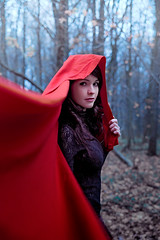 2013-10-20-15.18 (M45Tau) Tags: blue autumn trees winter red cold girl leaves fashion forest dance movement october magic evil move story cape gaze