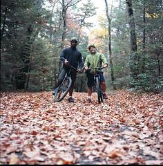 Kelly & Aaron (OQ62) Tags: autumn 120 6x6 film analog zeiss mediumformat prime scanner scan foliage scanned mountainbiking a12 newpaltz planar hudsonvalley 80mm carlzeiss hasselblad500cm epsonv700 carlzeissplanarc80mmf28t