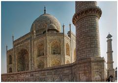 Agra IND - Taj Mahal Base, dome, and minaret