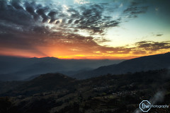 Dramatic Sunrise (fanjw) Tags: nepal sun foothills mountains sunrise landscape dramatic sunrays sunray vibrance nagarkot