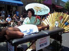 """""""Me Love You Long Time"""" at the 2013 Doo Dah Parade (Robb Wilson) Tags: geisha florist pasadena doodah doodahparade massageparlor 2013doodahparade"""