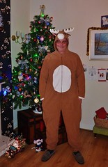 Oh Deer, stuck in a rutt! (Jo Leibrick Harrop been busy but catching up) Tags: silly holidays stag smiles husband christmastree wierd rod laughter daft fancydress cosy tomfoolery onesie comfy rut