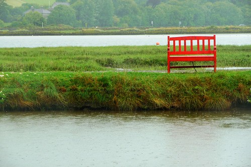 a red bench
