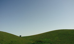 Shed (gazrad) Tags: blue sky colour green field grass horizontal rural landscape one farm empty shed farmland hills pasture cloudless agriculture curve curved minimalist distant paddock fertile treeless nocloud