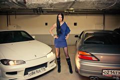 Girl & Nissan (Grigor_M) Tags: girls woman sexy beauty car female 5d brunette sportscars