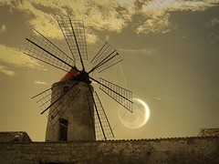 Windmill with moon (Uscè (OFF,OFF!!!!!)) Tags: friends light sky italy moon holiday texture windmill colors yellow skyline clouds photo europe perspective jesi happynewyear eugenio staffolo coppari mygearandme mygearandmepremium mygearandmebronze mygearandmesilver mygearandmegold mygearandmeplatinum mygearandmediamond uscè