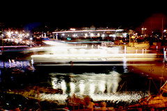 Moving Boats (Chantelle G) Tags: longexposure light sea black reflection water night dark boats evening harbour