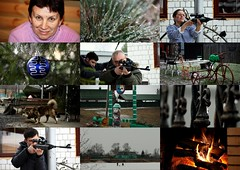 Holidays in the countryside. Collage. Series. (halina.reshetova) Tags: christmas pink blue winter red people dog brown white black green ice grass collage canon fence toy fire eos countryside fireplace shoot village fishermen pneumatic flames rifle january entertainment recreation firewood icefishing firtree 1000d breechsight mygearandme 12012014 smallarchitecturalforms riverundertheice