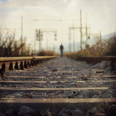 A lonely way (Victoria Yarlikova) Tags: man square railway lonely abbandoned