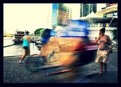 Riverside (rachFNQ) Tags: motion blur river walking riverside bikes brisbane