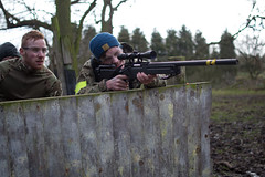 Airsoft (youngsharky) Tags: wood uk trees light cloud tree green sports leaves sport clouds woodland outdoors woods nikon europe soft gun shoot shots britain outdoor scope military smoke air united kingdom down suit sniper land guns shooting british leisure aim shoots bb lying bbs gunner troops frontier tyres troop skirmish penkridge ghillie airsoft aims 3100 milsim aiming sniping multicam snipe d3100 3100d