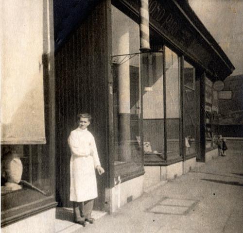 Leno Servadei Outside 8 Homelea  Road  Ladies Hairdressers 1940s