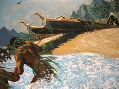 Canoe Launching, 1976 (-jamesstave-) Tags: art beach museum painting island hawaii polynesia pacific oahu shore transportation boating tropical honolulu oceania