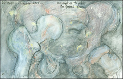 The angle on the pelvis: the femoral neck. 20 March, 2014. (Sharon Frost) Tags: paintings drawings anatomy hip femur sketches sketchbooks pelvis journals acetabulum sharonfrost daybooks femoralneck