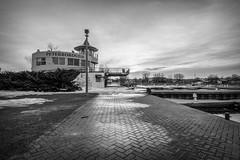 Peterborough (KevinCollins00) Tags: park sky blackandwhite bw white ontario water monochrome del marina downtown peterborough crary