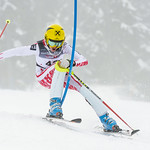 Eric HERAUF of Canada straddles a gate in the U14 Boys Slalom Race held on Whistler Mountain on April 5th, 2014. Photo by Scott Brammer - coastphoto.com