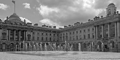 Somerset House & Fountains (cocabeenslinky) Tags: lighting city uk england blackandwhite bw white house black west building london fountain thames strand canon court river blackwhite power shot artistic photos united capital arts may royal kingdom somerset william victoria powershot end fountains sequence sir