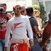 Sebastian Vettel returns from the track