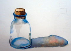 Bottle, by Cosette - DSC00703 (Dona Minúcia) Tags: art painting watercolor study tilllife bottle shadow arte pintura aquarela frasco garrafa glass vidro naturezamorta sombra