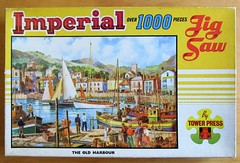 The Old Harbour - box (pefkosmad) Tags: jigsaw puzzle used secondhand vintage imperial towerpress 1000pieces complete box packaging 29x19in oldharbour painting hobby leisure pastime