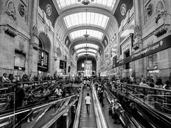 Milano Centrale (simo mura) Tags: blackandwhite bw white black milan monochrome station contrast train milano central samsung trains railways stazione centrale treni ex2f
