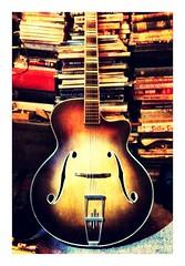 My Egmond ES57 guitar, 2013 (Konrad Lenz) Tags: guitar books sunburst egmond archtop fhole fholes 2013 es57