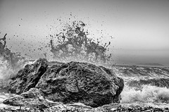 Never ending clash (elduderino8) Tags: sea white black water rock wave clash splash