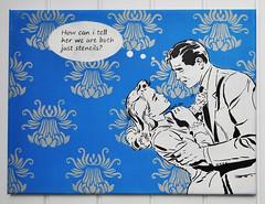 How can I tell her? (Blue) (id-iom) Tags: street uk england urban woman streetart man london art love girl face wall lady graffiti cool stencil paint head arts spray drip spraypaint brixton idiom 4thwall aerosolpaint