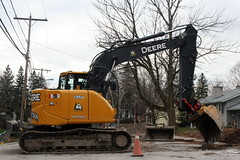 Large Backhoe Breaking Asphalt on Church Street_9095 (Bobolink) Tags: ontario stirling churchstreet backhoe