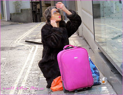 `1051 (roll the dice) Tags: uk pink portrait urban colour sexy london art classic girl westminster sunglasses fashion shopping fur bottle alley funny pretty candid homeless streetphotography rude stranger brush lips luggage unknown bags lipstick brunette mad oxfordstreet w1 comb westend packed unaware londonist