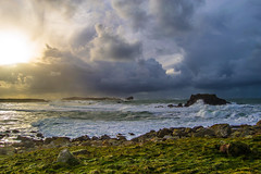 verlen (fubu.flemm) Tags: ocean sunset sea storm france rock horizontal island brittany day wave bretagne argenton