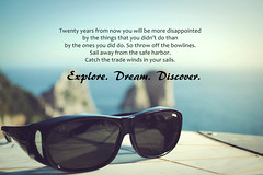 life travel blue sea sky italy inspiration sunglasses typography capri spring rocks mark dream sunny shades adventure explore sail twain motivation wisdom discover