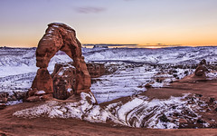 Delicate Arch (Sarmu) Tags: winter sunset wallpaper usa mountain snow nature rock america landscape utah us highresolution ut view unitedstates outdoor widescreen 1600 highdefinition resolution northamerica 1200 hd wallpapers archesnationalpark 1920 delicatearch ws 1080 2014 1050 720p 1080p 1680 720 digitalblending 2560 sarmu