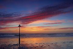 A little late sunshine! (John Ibbotson (catching up!)) Tags: sunset sea sun beach wales clouds reflections coast seaside ceredigion borth