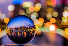 crystal ball and coloured lights (#4 on explore) (Vivien J-Dora) Tags: longexposure skyline architecture lights colours view frankfurt 4 architektur lichter langzeitbelichtung maintower ignazbubisbrcke 5dmarkii