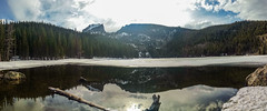 Colorado Rocky Mountain National Park. (TheevenX) Tags: sky cloud mountain lake inspiration reflection water landscape rockies heaven earth rockymountain waterreflection beautifulsky landscapephotography amazingview