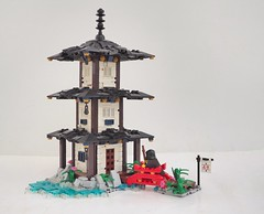 The Temple of Iriomote (W. Navarre) Tags: temple japanese bridge monk roof village build tourney flag