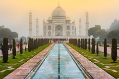 Taj Mahal (johndanielphoto) Tags: sunrise cloudy monument love green garden overcast foggy architechture india agra delhi shahjahan valentine tajmahal mumtaz valentinesday