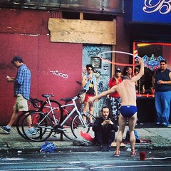 Give him a dollar! Street life in Brooklyn. (plaintruthiness) Tags: street nyc newyorkcity gay boy shirtless brooklyn square lofi pride gayboy squareformat hottie speedo hulahoop streetperformance noshirt gayguy brooklynpride iphoneography instagramapp uploaded:by=instagram foursquare:venue=51b3581a498e781d04904aa2
